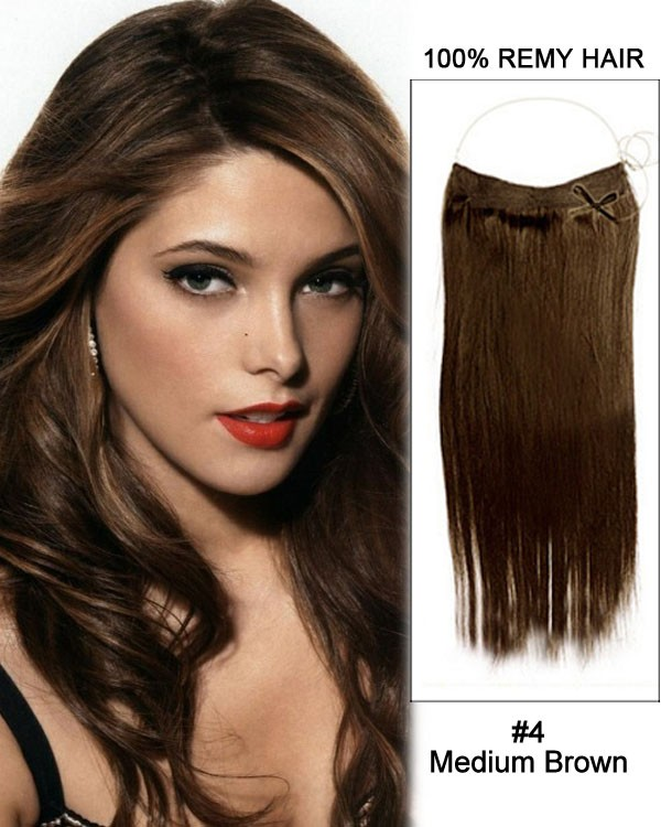 14 - 32 Inch Straight Secret Human Hair Extensions #4 Medium Brown