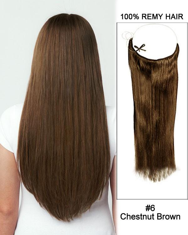 14 - 32 Inch Straight Secret Human Hair Extensions #6 Chestnut Brown