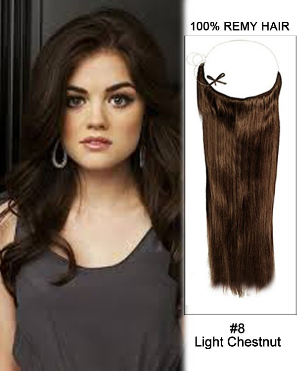 14 - 32 Inch Straight Secret Human Hair Extensions #8 Light Chestnut