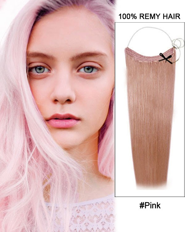 14 - 32 Inch Straight Secret Human Hair Extensions Pink