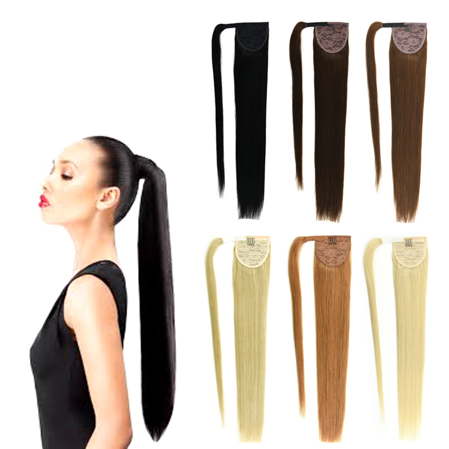 14-32 Inch Sleek Wrap Around Clip In Human Hair Ponytail Extensions