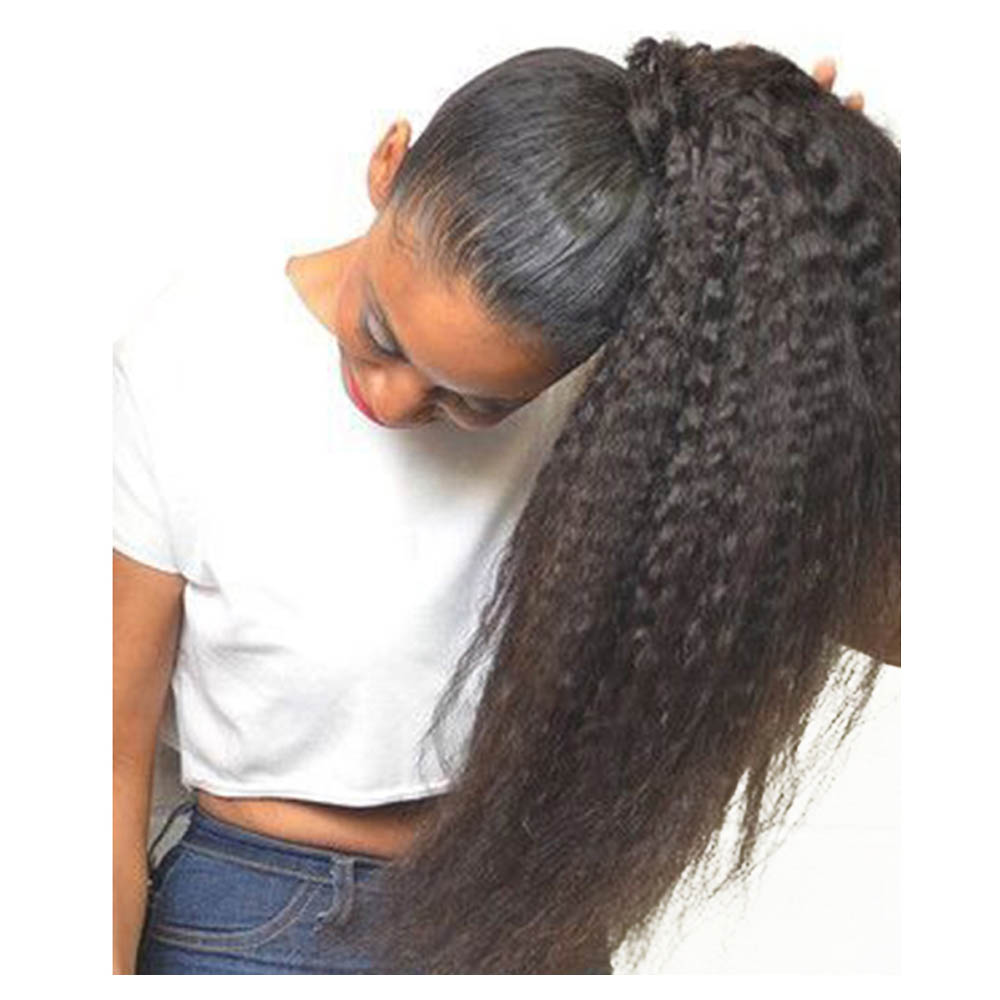 14-32 Inch Wrap Around 100% Human Hair Ponytail in Kinky Straight  #1B