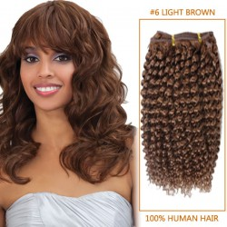 14 Inch  #6 Light Brown Afro Curl Indian Remy Hair Wefts