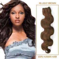 14 Inch  #6 Light Brown Body Wave Brazilian Virgin Hair Wefts