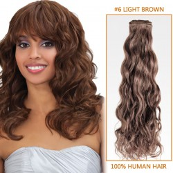 14 Inch  #6 Light Brown Curly Brazilian Virgin Hair Wefts