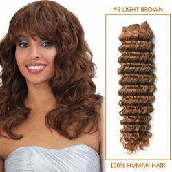 14 Inch  #6 Light Brown Deep Wave Brazilian Virgin Hair Wefts