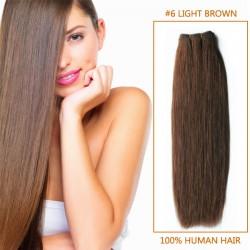 14 Inch  #6 Light Brown Straight Brazilian Virgin Hair Wefts