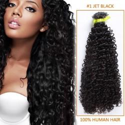 14 Inch #1 Jet Black Afro Curl Brazilian Virgin Hair Wefts