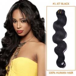 14 Inch #1 Jet Black Body Wave Brazilian Virgin Hair Wefts