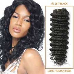 14 Inch #1 Jet Black Deep Wave Indian Remy Hair Wefts