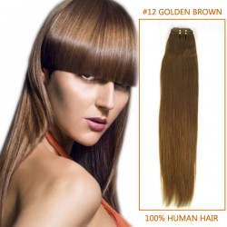 14 Inch #12 Golden Brown Straight Brazilian Virgin Hair Wefts