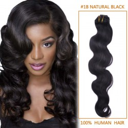 14 Inch #1b Natural Black Body Wave Indian Remy Hair Wefts