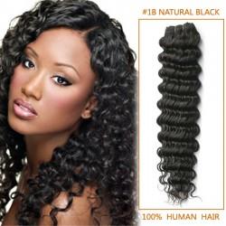 14 Inch #1b Natural Black Deep Wave Brazilian Virgin Hair Wefts