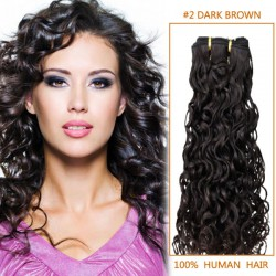 14 Inch #2 Dark Brown Curly Indian Remy Hair Wefts