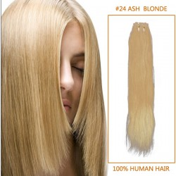 14 Inch #24 Ash Blonde Straight Indian Remy Hair Wefts