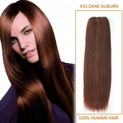 14 Inch #33 Dark Auburn Straight Indian Remy Hair Wefts