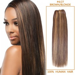14 Inch #4/27 Brown/Blonde Straight Indian Remy Hair Wefts