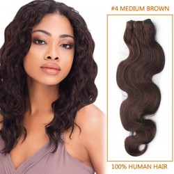14 Inch #4 Medium Brown Body Wave Brazilian Virgin Hair Wefts