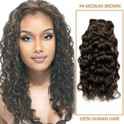 14 Inch #4 Medium Brown Curly Brazilian Virgin Hair Wefts