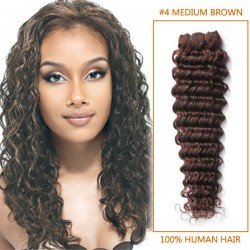 14 Inch #4 Medium Brown Deep Wave Indian Remy Hair Wefts