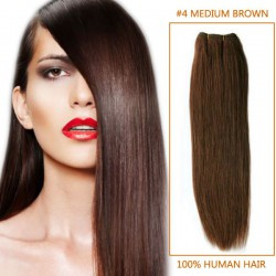 14 Inch #4 Medium Brown Straight Indian Remy Hair Wefts