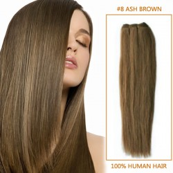 14 Inch #8 Ash Brown Straight Brazilian Virgin Hair Wefts