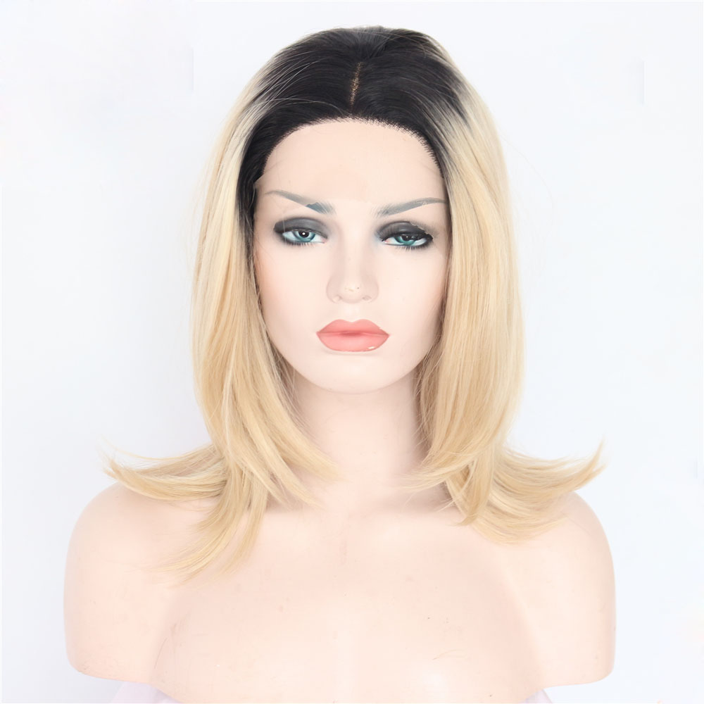 14 Inch Dark Boots Blonde Synthetic Glueless Lace Front Wig