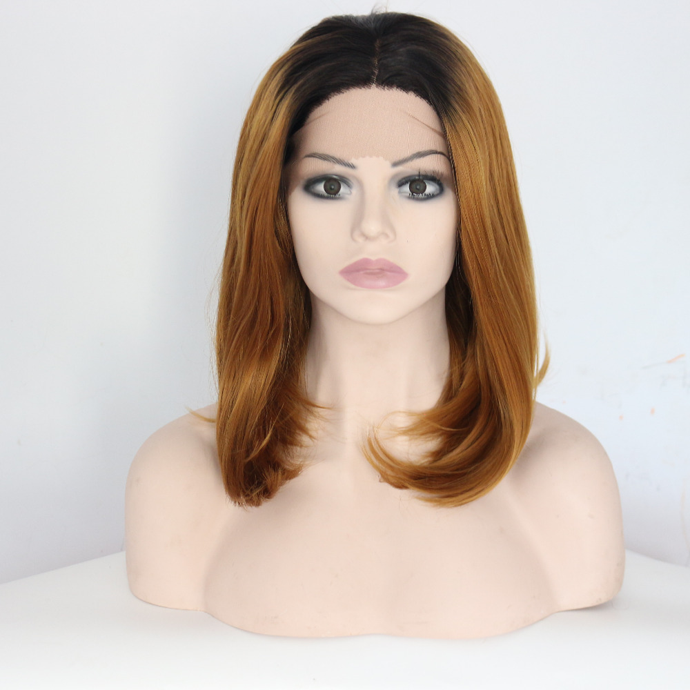 14 Inch Dark Boots Brown Straight Bobo Lace Front Wigs