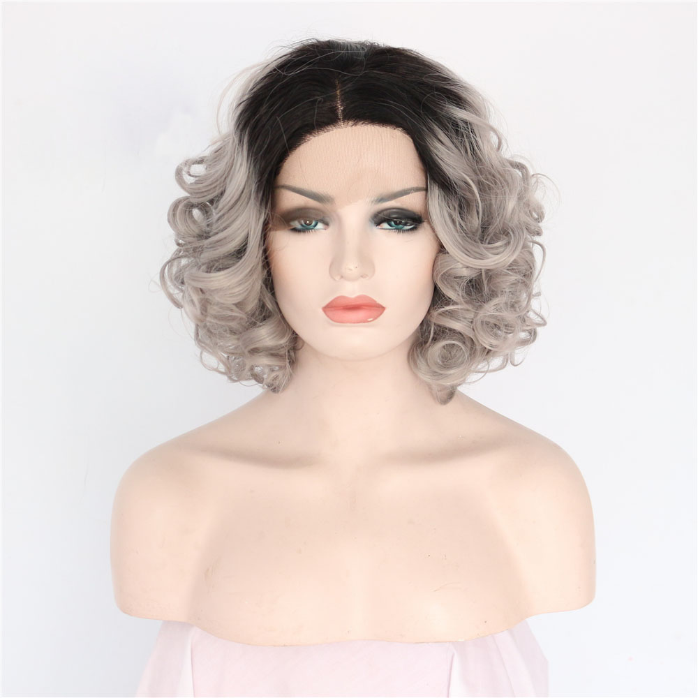 14 Inch Dark Roots Grey Curly Lace Front Wig