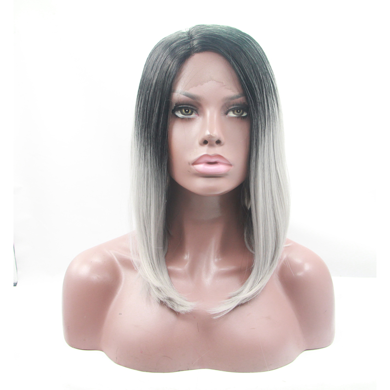 14 Inch Dark Roots Grey Ombre BOB Synthetic Lace Front Wig