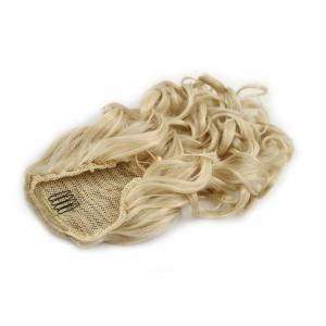 14 Inch Drawstring Human Hair Ponytail Exquisite Curly #24 Ash Blonde