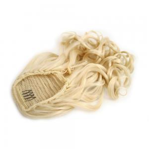 14 Inch Drawstring Human Hair Ponytail Fulgurant Curly #613 Bleach Blonde