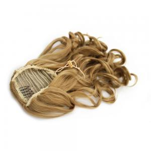 14 Inch Drawstring Human Hair Ponytail Golden Curly #27 Strawberry Blonde