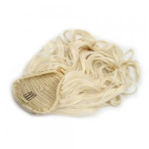 14 Inch Graceful Drawstring Human Hair Ponytail Straight #60 White Blonde