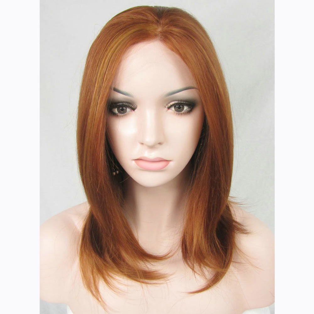 14 Inch Handmade Fashion Light Brown Medium Bob Lace Front Wig