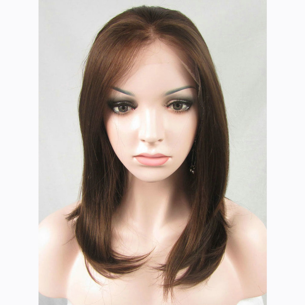 14 Inch Handmade Natural Wavy Brown Bob Lace Front Wig
