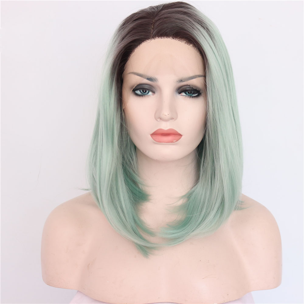 14 Inch Hot Sale Straight Green Synthetic Lace Front Wig