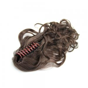 14 Inch Instant Claw Clip Human Hair Ponytail Curly #4 Medium Brown
