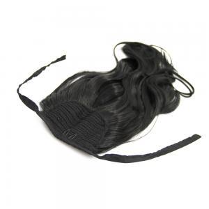 14 Inch Lace/Ribbon Human Hair Ponytail Glamorous Curly #1 Jet Black