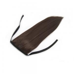 14 Inch Lace/Ribbon Human Hair Ponytail Ladylike Straight #4 Medium Brown