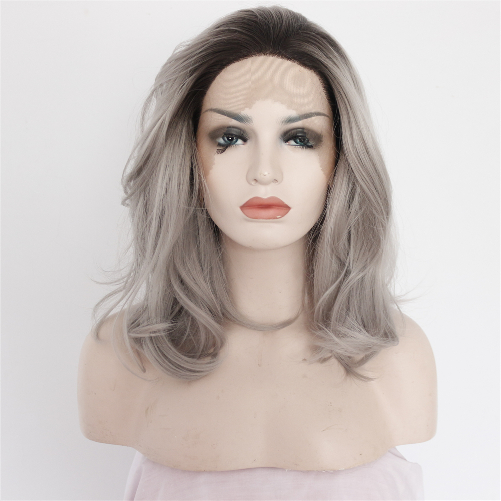 14 inch Long Chic Ombre Messy Bob Lace Front Wig
