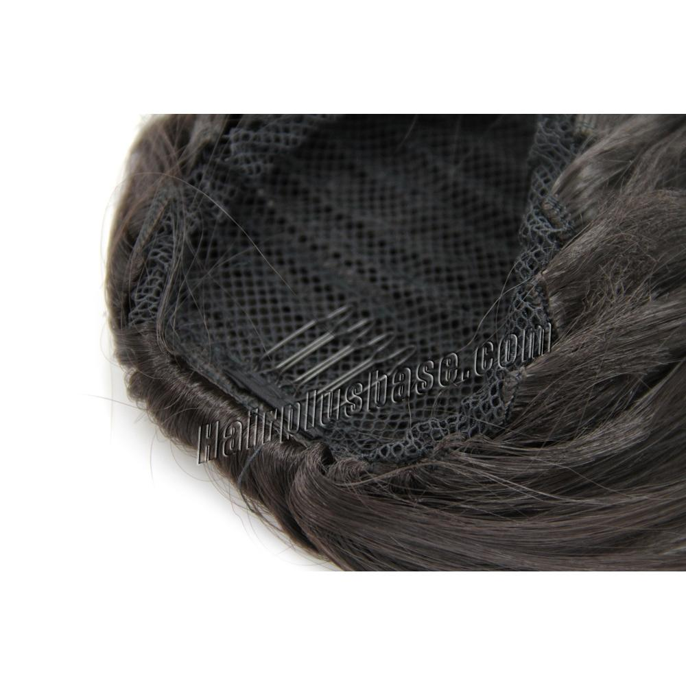 14 Inch Simple but Effective Drawstring Human Hair Ponytail Curly #4 Medium Brown no 2