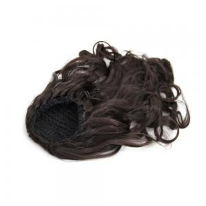 14 Inch Simple but Effective Drawstring Human Hair Ponytail Curly #4 Medium Brown