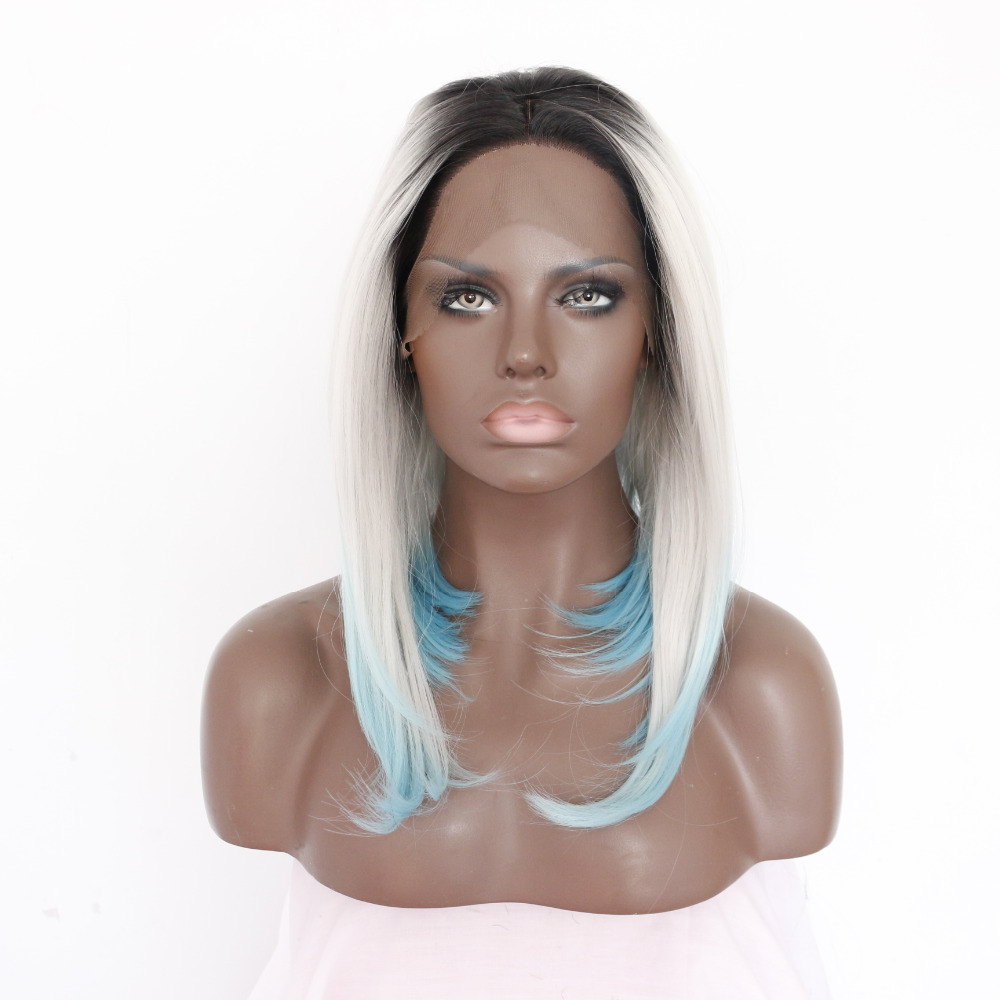 14 Inch Stylish Bob Straight Synthetic Lace Front Wig