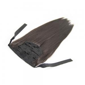 14 Inch Succinct Lace/Ribbon Human Hair Ponytail Straight #2 Dark Brown