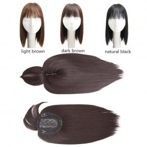 """14"""" Synthetic Hair Crown Toppers for Women with Thinning Hair, Straight Clips in Top Hairpieces with Bangs, Dark Brown"""
