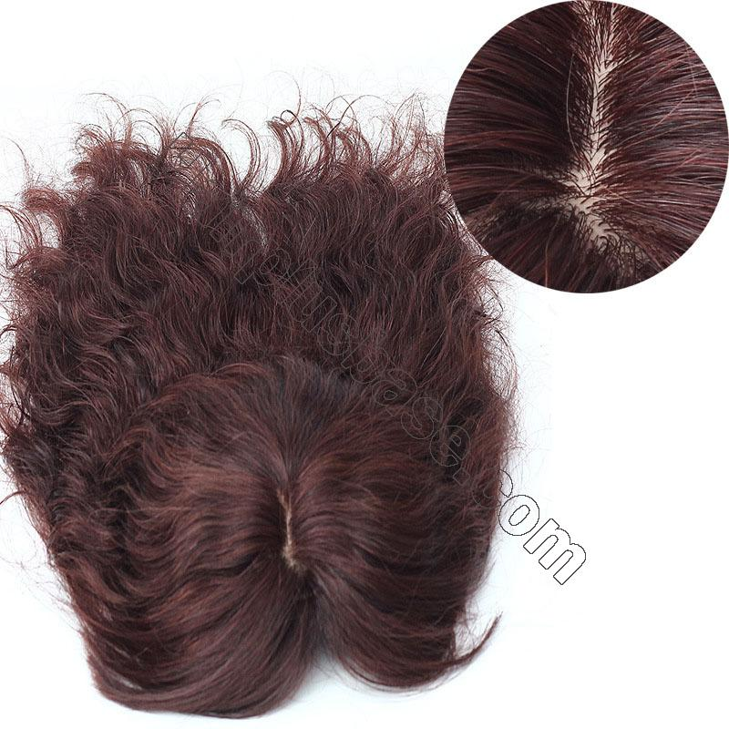 14 Inch Water Wave Hair Toppers with Bangs Human Hair Extension Clip in Top Crown Hairpieces 2