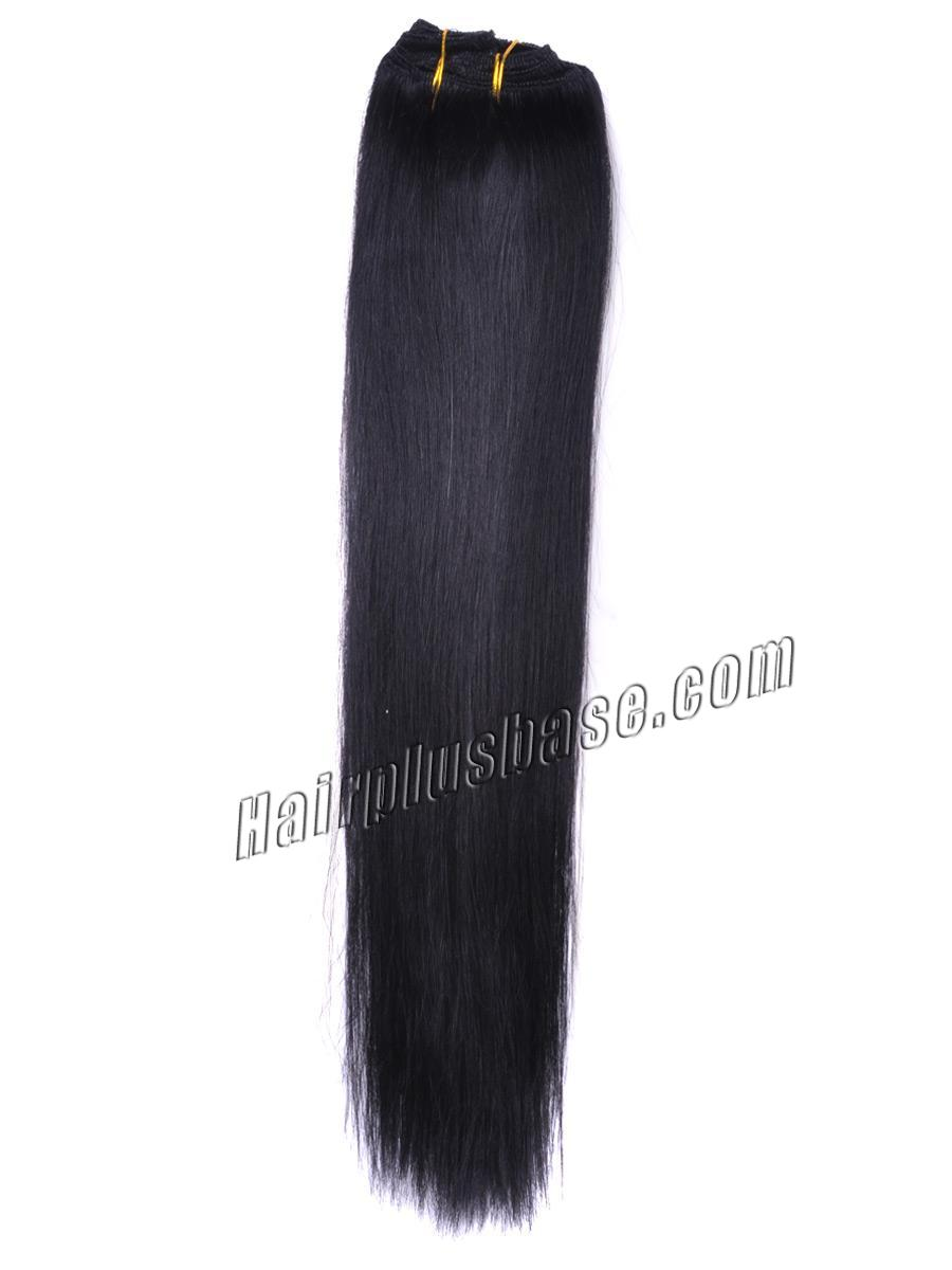 15 Inch #1 Jet Black Clip In Human Hair Extensions 7pcs no 2
