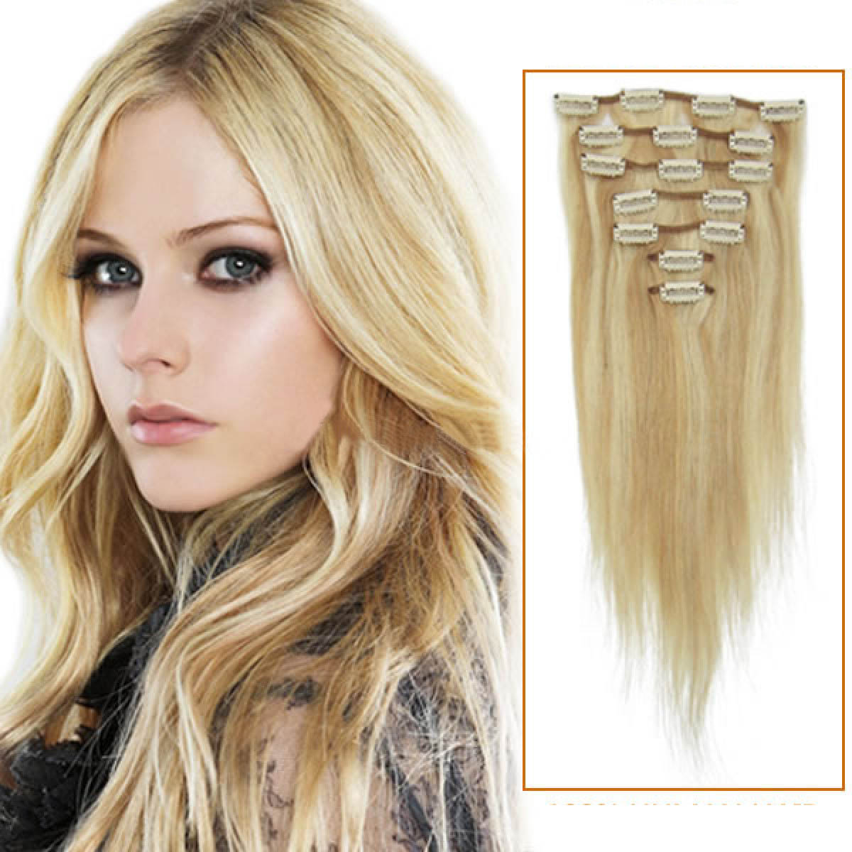 15 Inch #18/613 Blonde Highlight Clip In Human Hair Extensions 7pcs