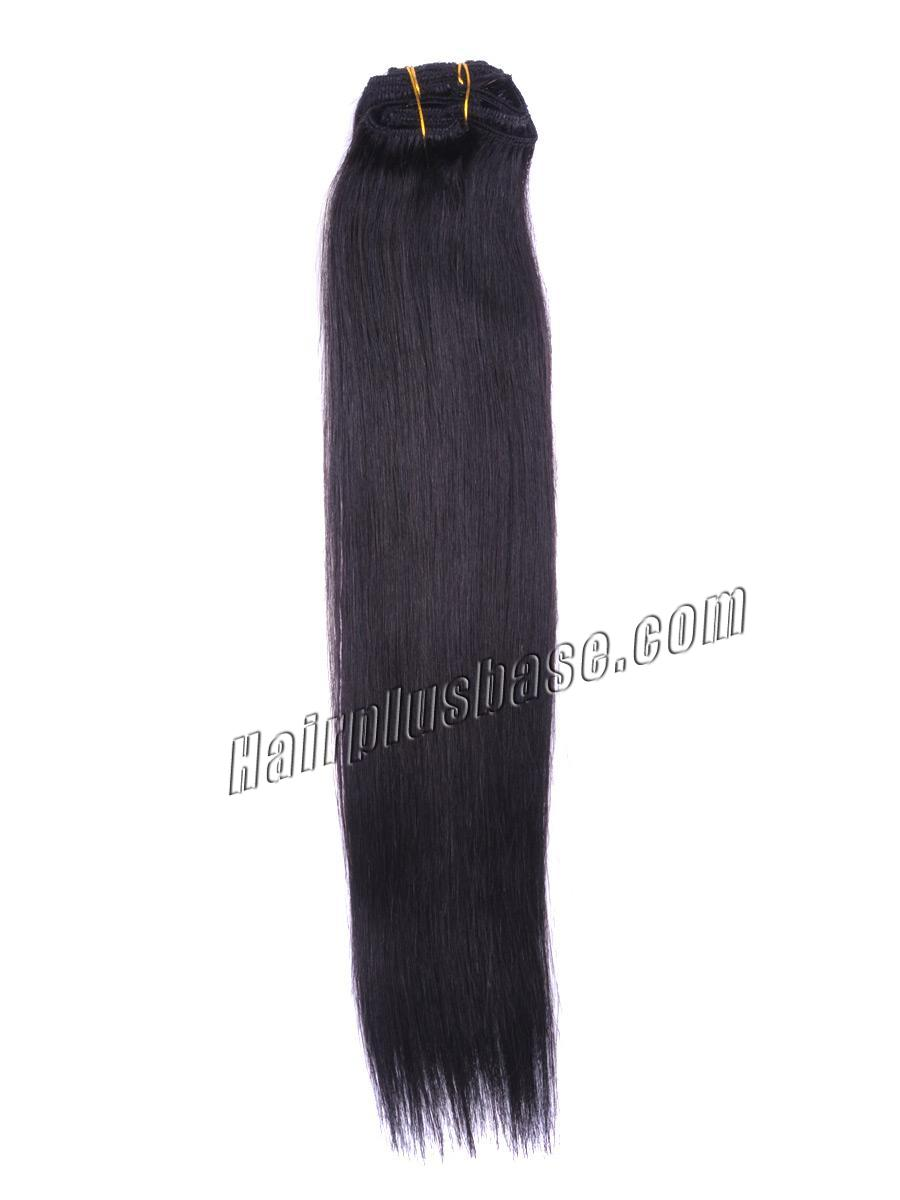 15 Inch #1b Natural Black Clip In Human Hair Extensions 7pcs no 1